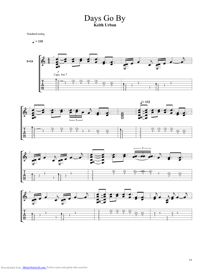 Days Go By guitar pro tab by Keith Urban @ musicnoteslib.com