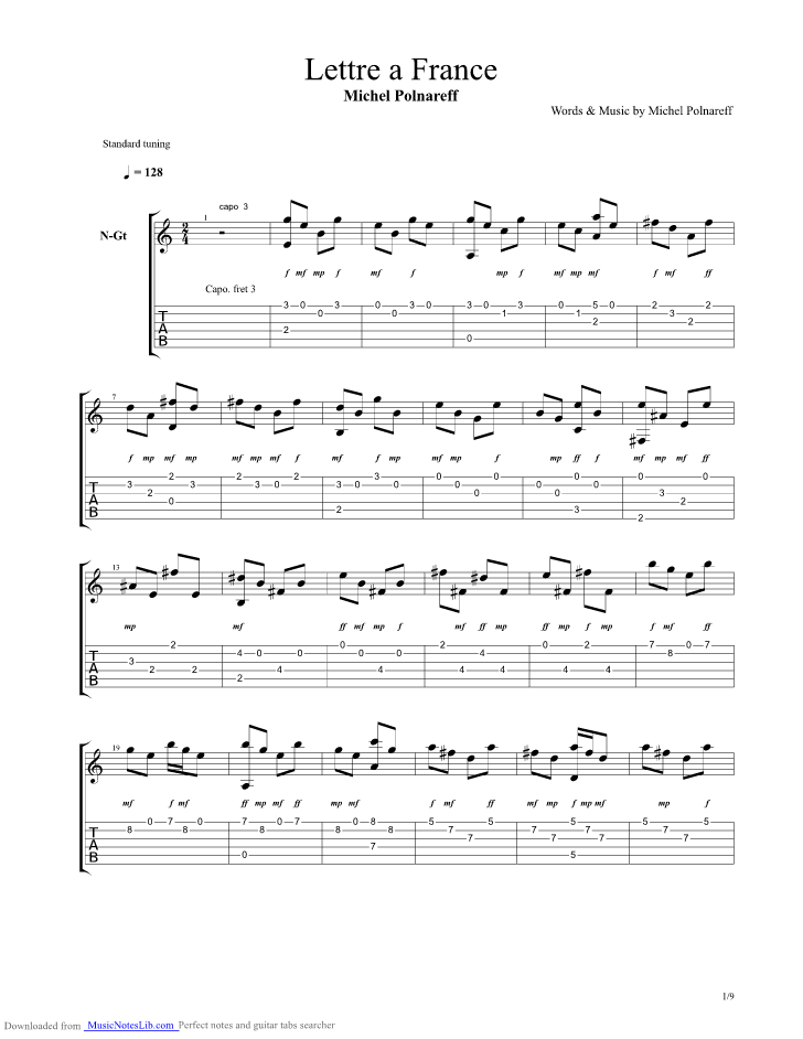 Lettre A France Guitar Pro Tab By Michel Polnareff