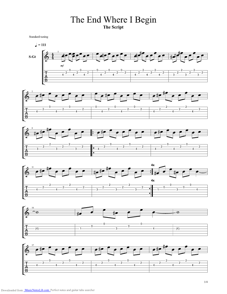 The End Where I Begin guitar pro tab by The Script @ musicnoteslib.com