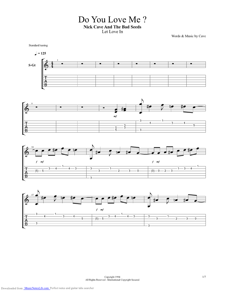 Do You Love Me Guitar Pro Tab By Nick Cave And The Bad Seeds