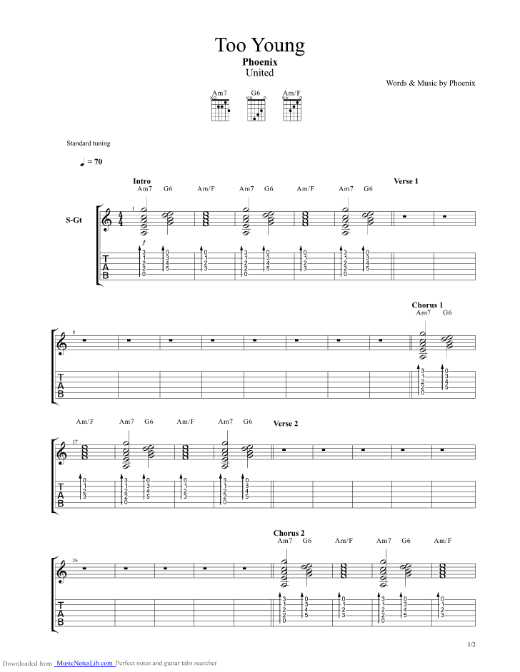 Too Young guitar pro tab by Phoenix @ musicnoteslib.com