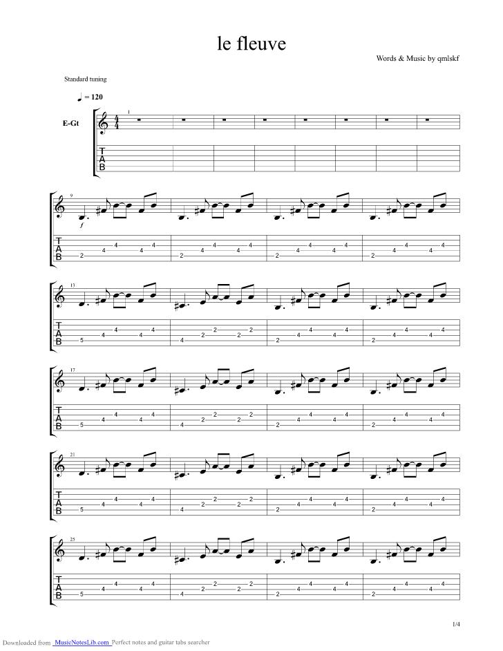 le fleuve guitar pro tab by noir desir musicnoteslib