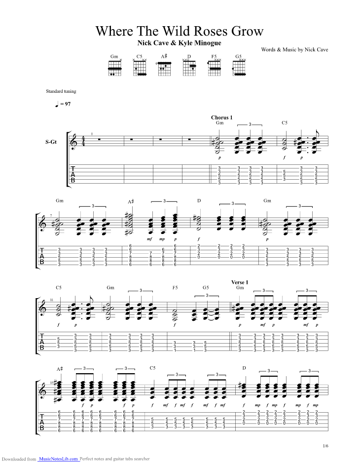 Where The Wild Roses Grow guitar pro tab by Nick Cave And The Bad ...