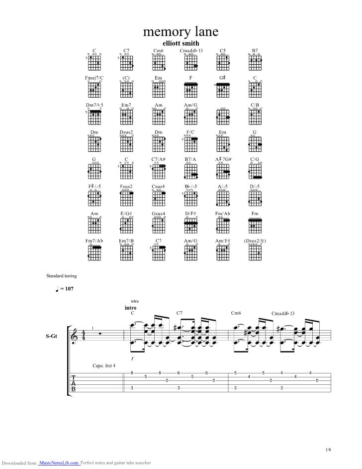 Memory Lane Guitar Pro Tab By Elliott Smith Musicnoteslib Com