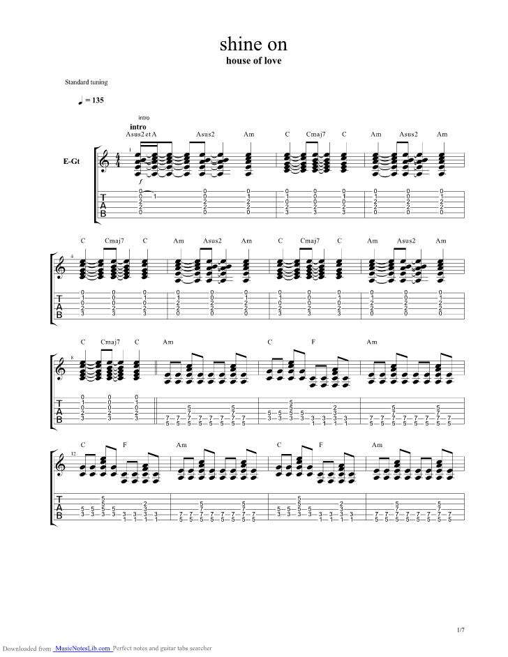 Shine On Guitar Pro Tab By The House Of Love Musicnoteslib