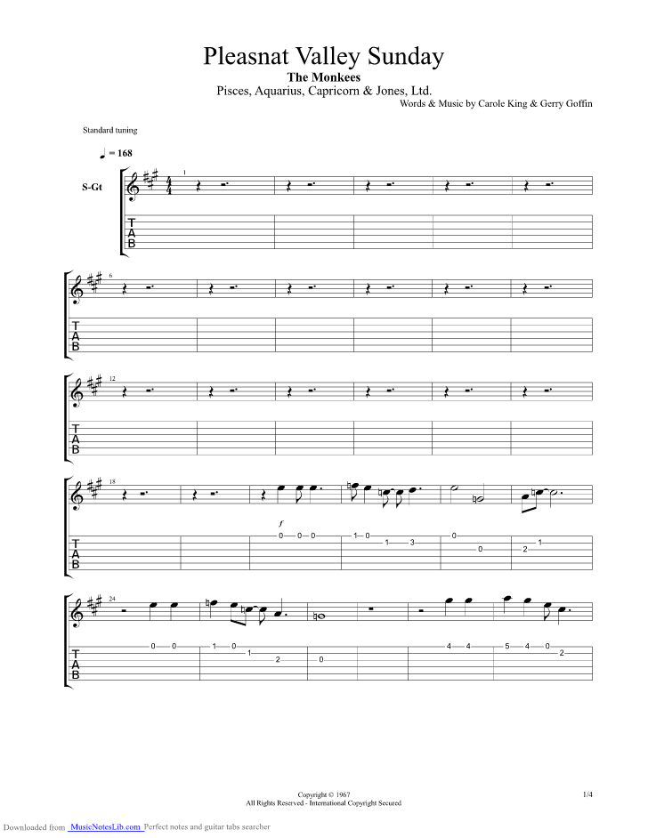 Pleasant Valley Sunday Guitar Pro Tab By Monkees Musicnoteslib