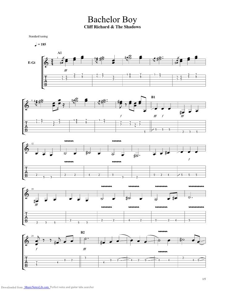 Bachelor Boy guitar pro tab by Cliff Richard @ musicnoteslib.com