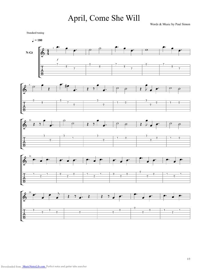 April Come She Will Guitar Pro Tab By Paul Simon Musicnoteslib