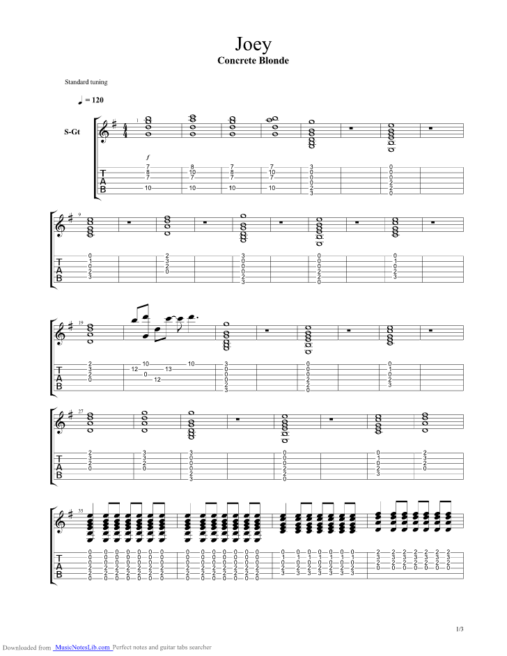 Joey guitar pro tab by Concrete Blonde @ musicnoteslib.com