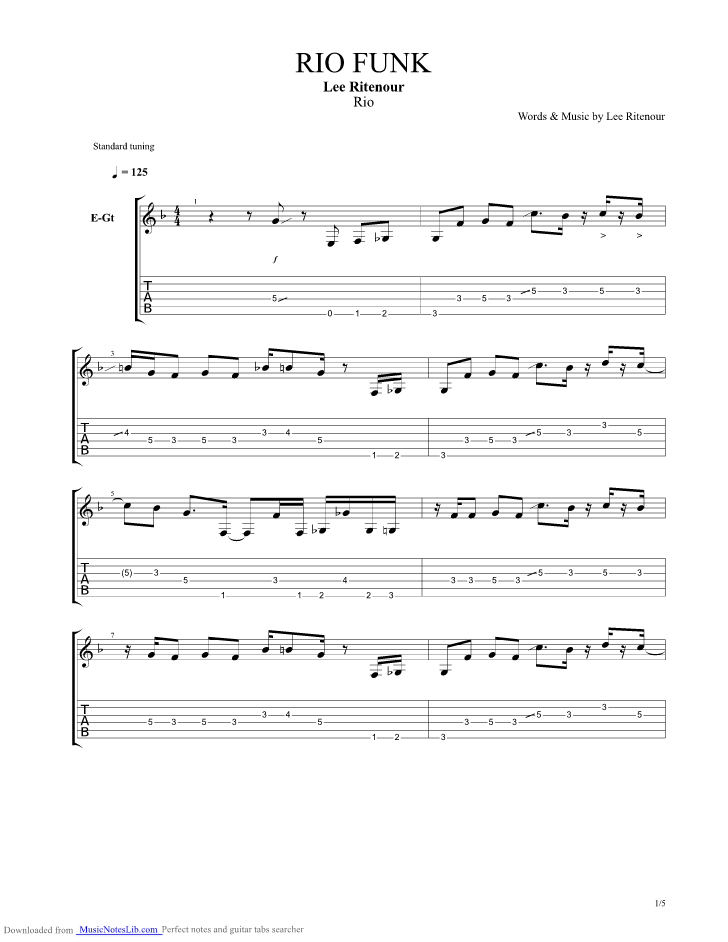 Rio Funk guitar pro tab by Lee Ritenour @ musicnoteslib.com
