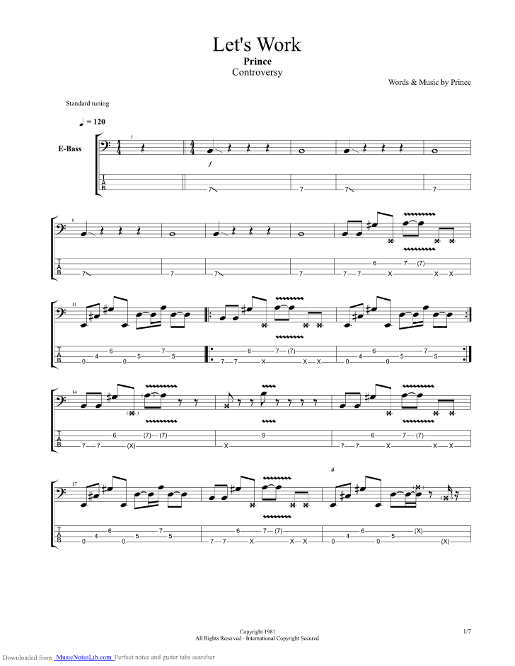 Lets Work guitar pro tab by Prince @ musicnoteslib.com