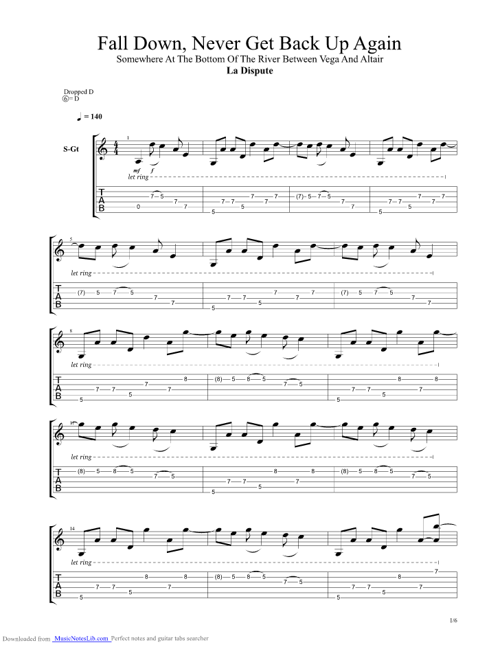 Fall Down Never Get Back Up Again Guitar Pro Tab By La Dispute