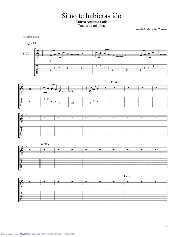 Si No Te Hubieras Ido Guitar Pro Tab By Marco Antonio Solis