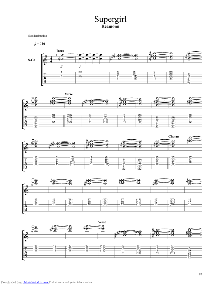 Supergirl Guitar Pro Tab By Reamonn Musicnoteslib