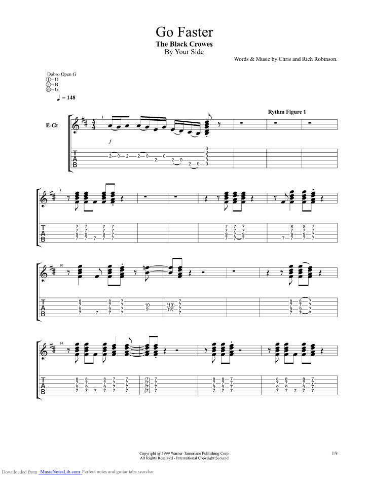 Go Faster Guitar Pro Tab By Black Crowes Musicnoteslib