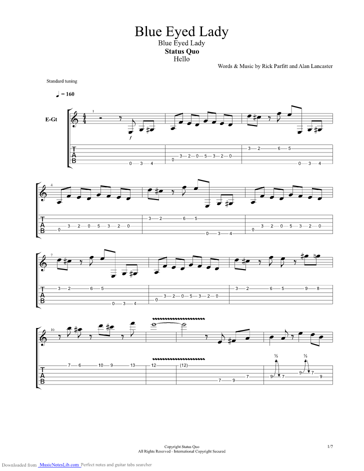 Blue Eyed Lady Guitar Pro Tab By Status Quo Musicnoteslib Com