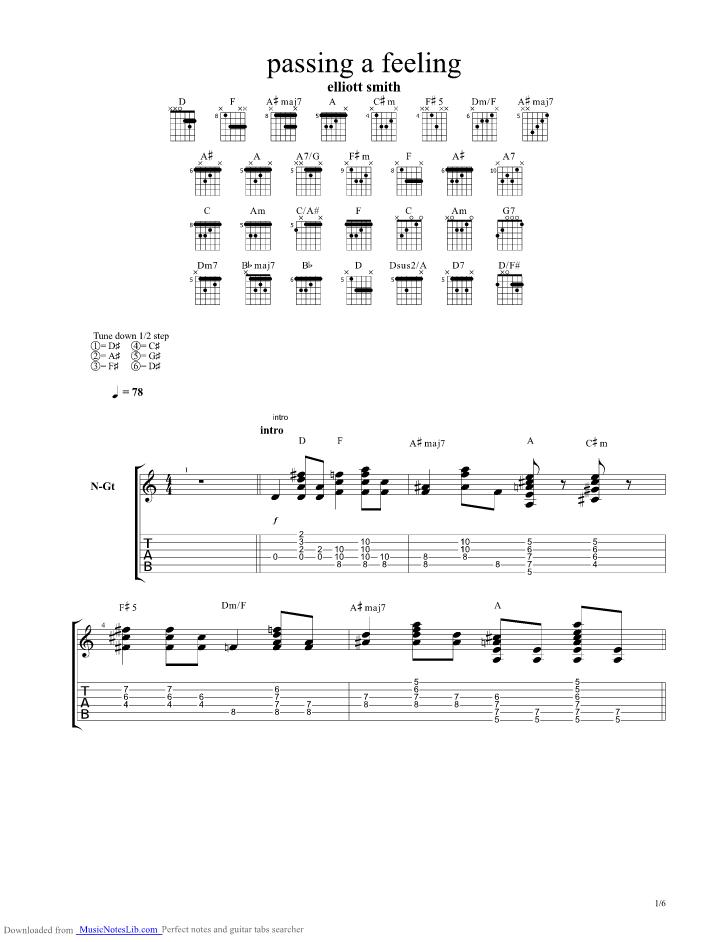Passing Feeling Guitar Pro Tab By Elliott Smith Musicnoteslib Com