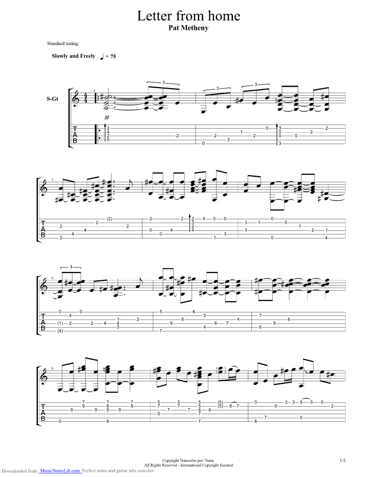letter from home guitar pro tab by pat metheny group With letter tabs