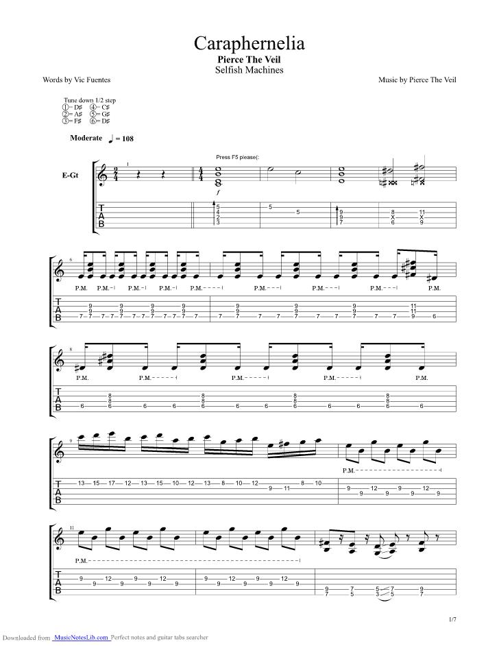 Caraphernelia guitar pro tab by Pierce The Veil @ musicnoteslib.com