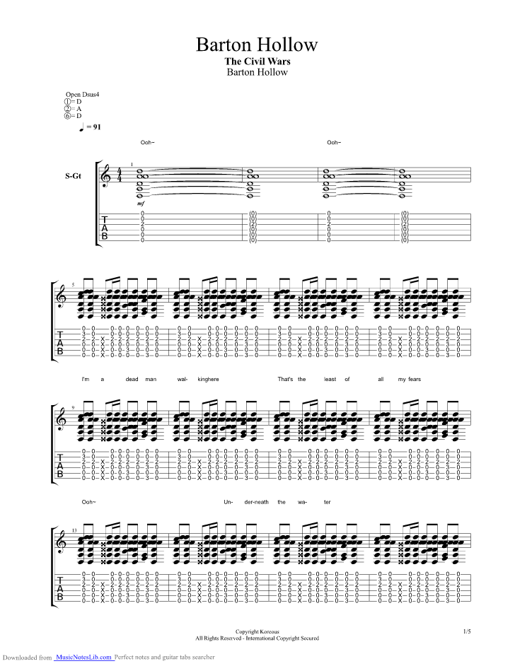 Barton Hollow guitar pro tab by The Civil Wars @ musicnoteslib.com