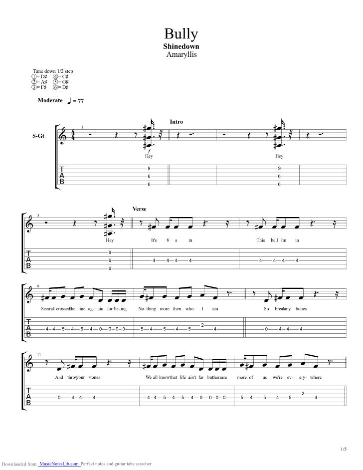 Bully Guitar Pro Tab By Shinedown Musicnoteslib