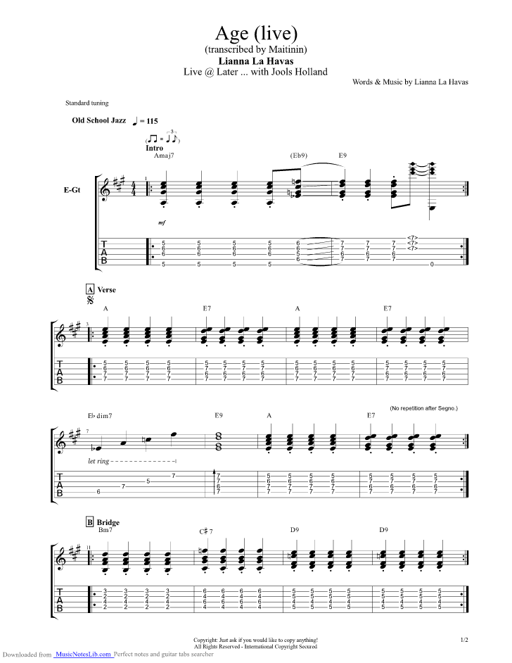 lianne la havas gone sheet music pdf