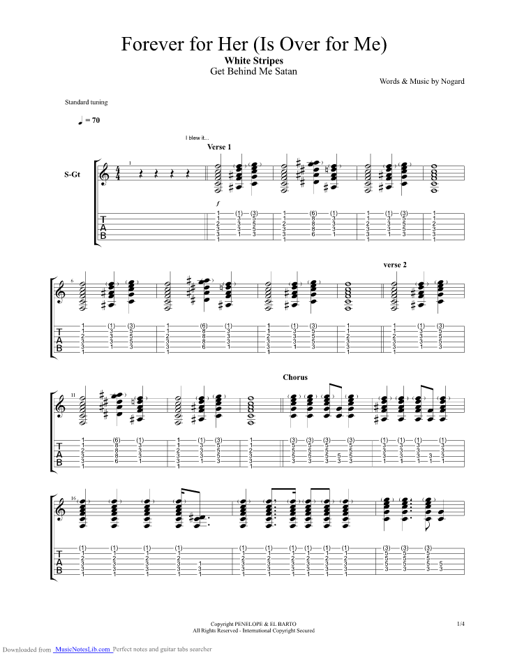 Forever For Her Is Over For Me Guitar Pro Tab By The White Stripes