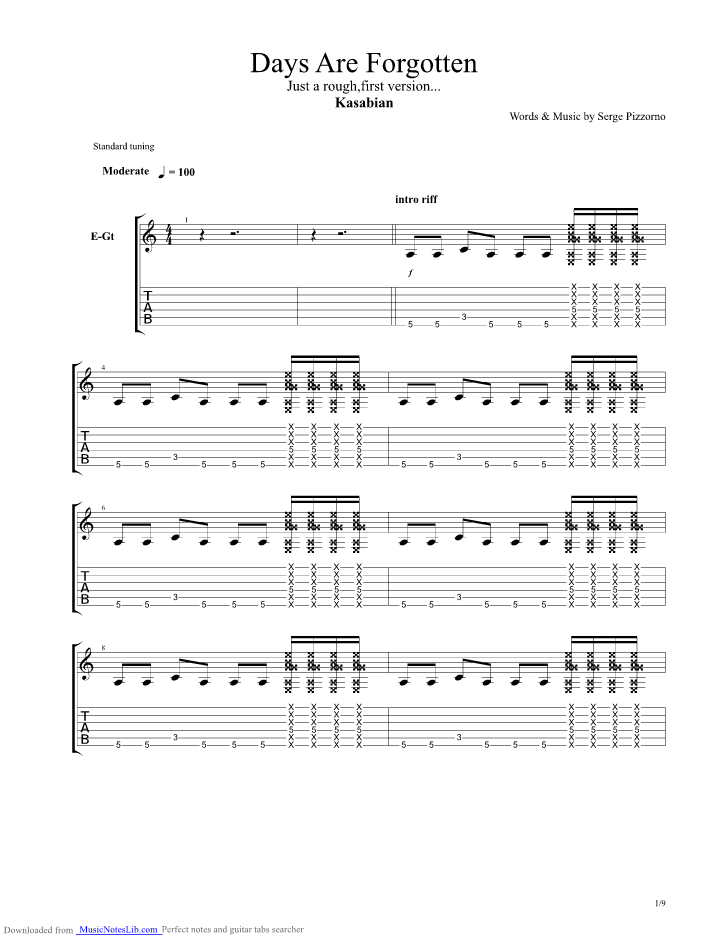 Days Are Forgotten guitar pro tab by Kasabian @ musicnoteslib.com