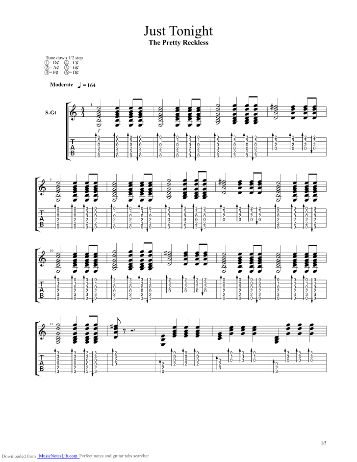 Just Tonight guitar pro tab by The Pretty Reckless @ musicnoteslib.com