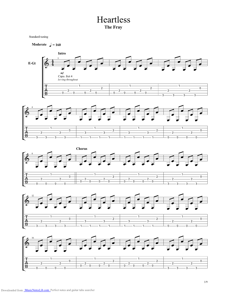 Heartless guitar pro tab by The Fray @ musicnoteslib.com