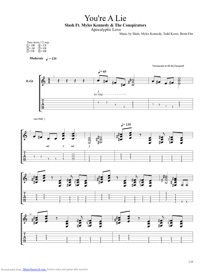 Youre A Lie guitar pro tab by Slash @ musicnoteslib com