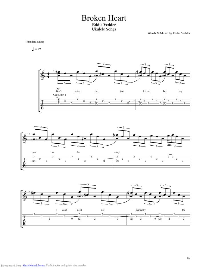 Broken Heart guitar pro tab by Eddie Vedder @ musicnoteslib.com