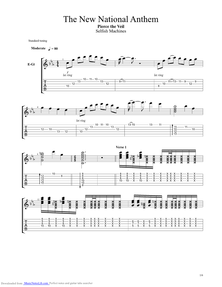The New National Anthem Guitar Pro Tab By Pierce The Veil Musicnoteslib Com