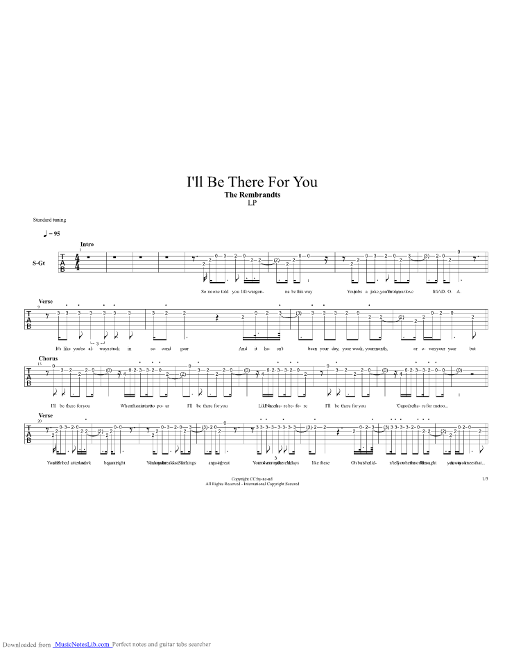 Ill Be There For You Guitar Pro Tab By The Rembrandts