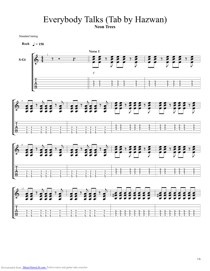 Everybody Talks guitar pro tab by Neon Trees @ musicnoteslib.com