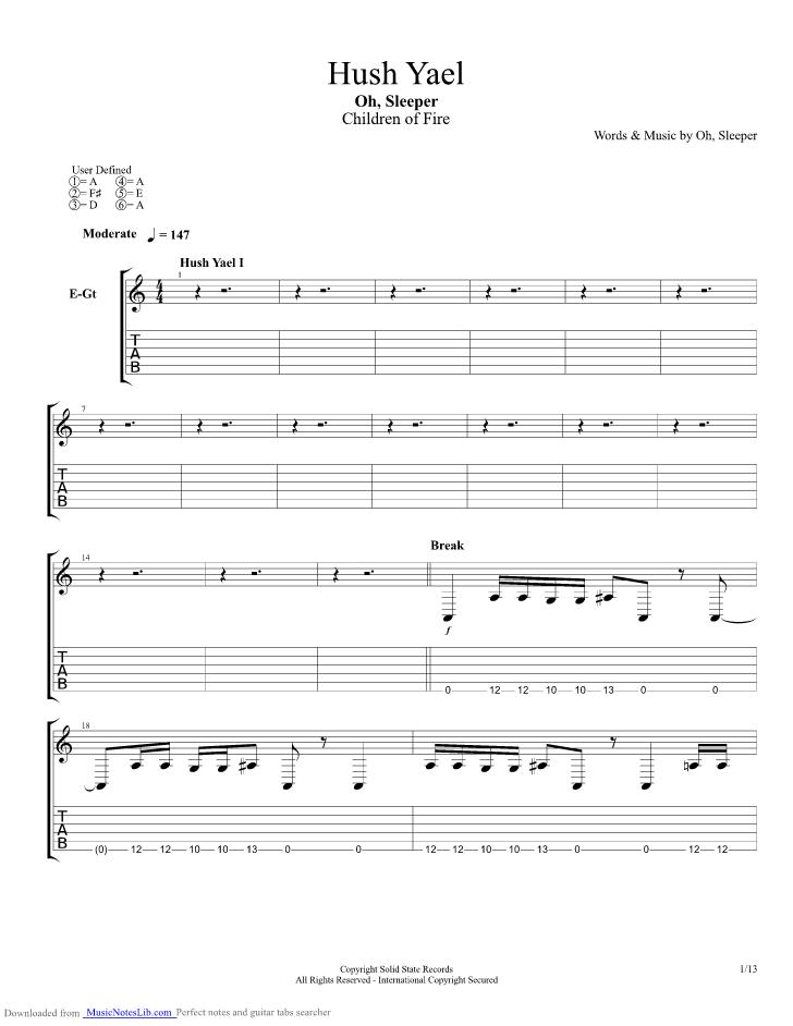Hush Yael guitar pro tab by Oh Sleeper @ musicnoteslib.com