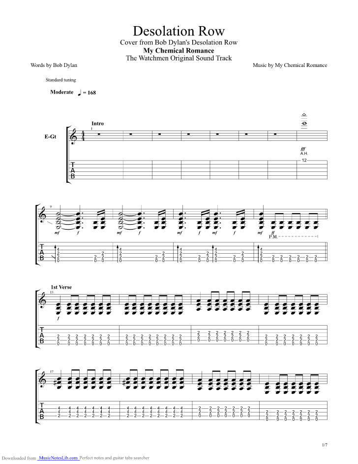 desolation row guitar pro tab by my chemical romance. Black Bedroom Furniture Sets. Home Design Ideas