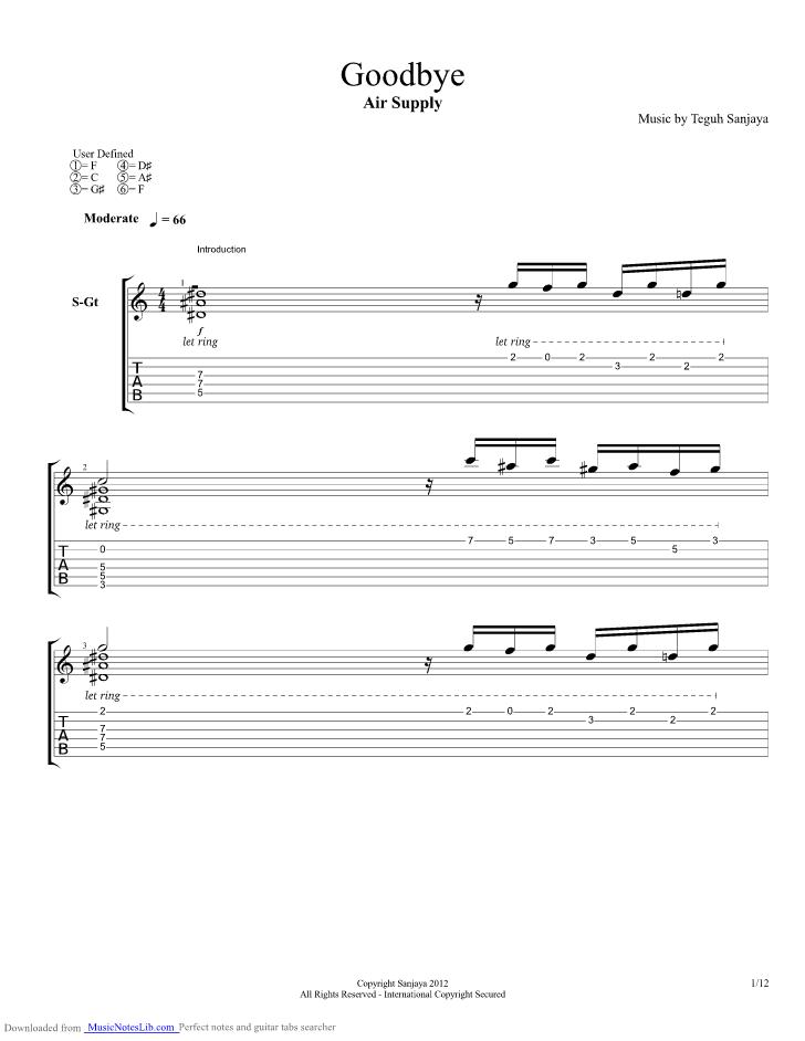 Goodbye Guitar Pro Tab By Air Supply Musicnoteslib