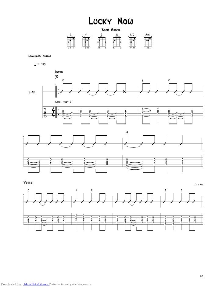 Lucky Now Guitar Pro Tab By Ryan Adams Musicnoteslib