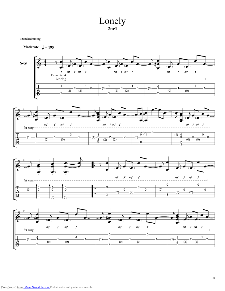Lonely Guitar Pro Tab By 2ne1 Musicnoteslib