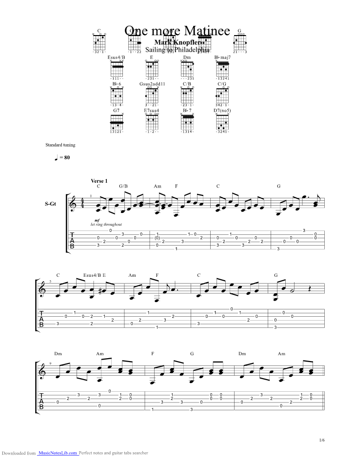 One More Matinee guitar pro tab by Mark Knopfler @ musicnoteslib.com