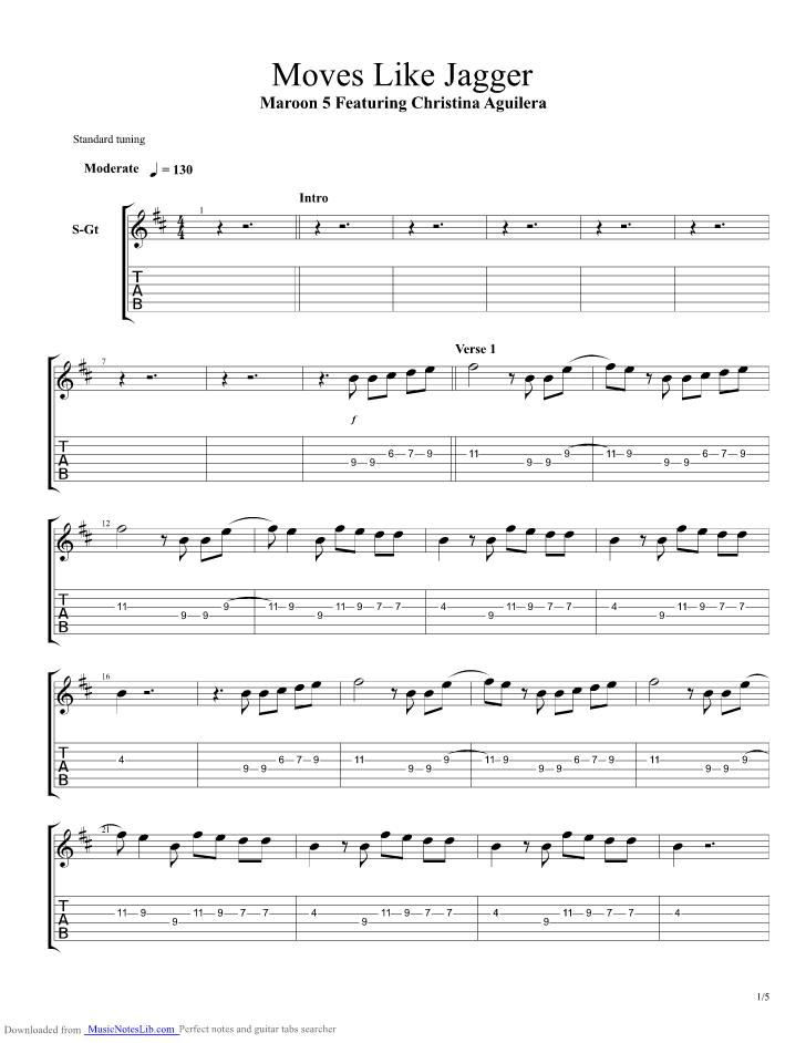 Moves Like Jagger Guitar Pro Tab By Maroon 5 Musicnoteslib
