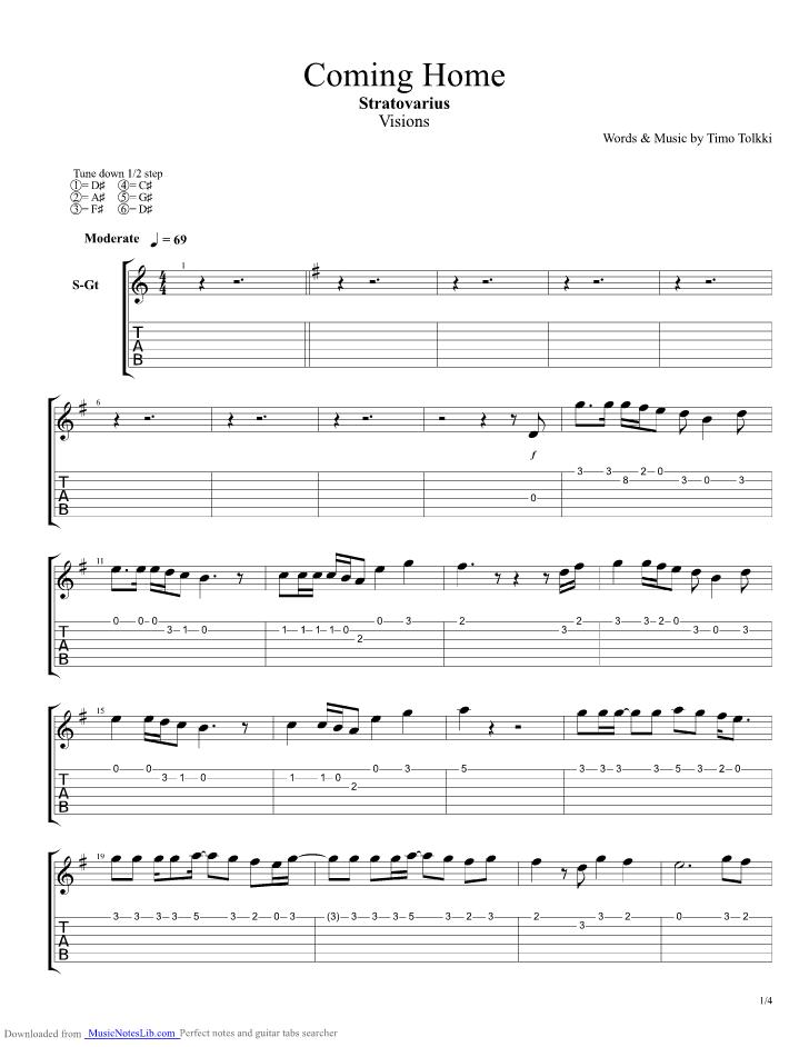 Coming Home Guitar Pro Tab By Stratovarius Musicnoteslib