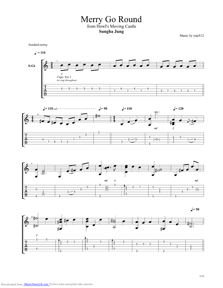 Merry Go Round guitar pro tab by Sungha Jung @ musicnoteslib.com