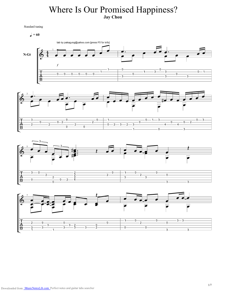 Where Our Promised Happiness Guitar Pro Tab By Jay Chou