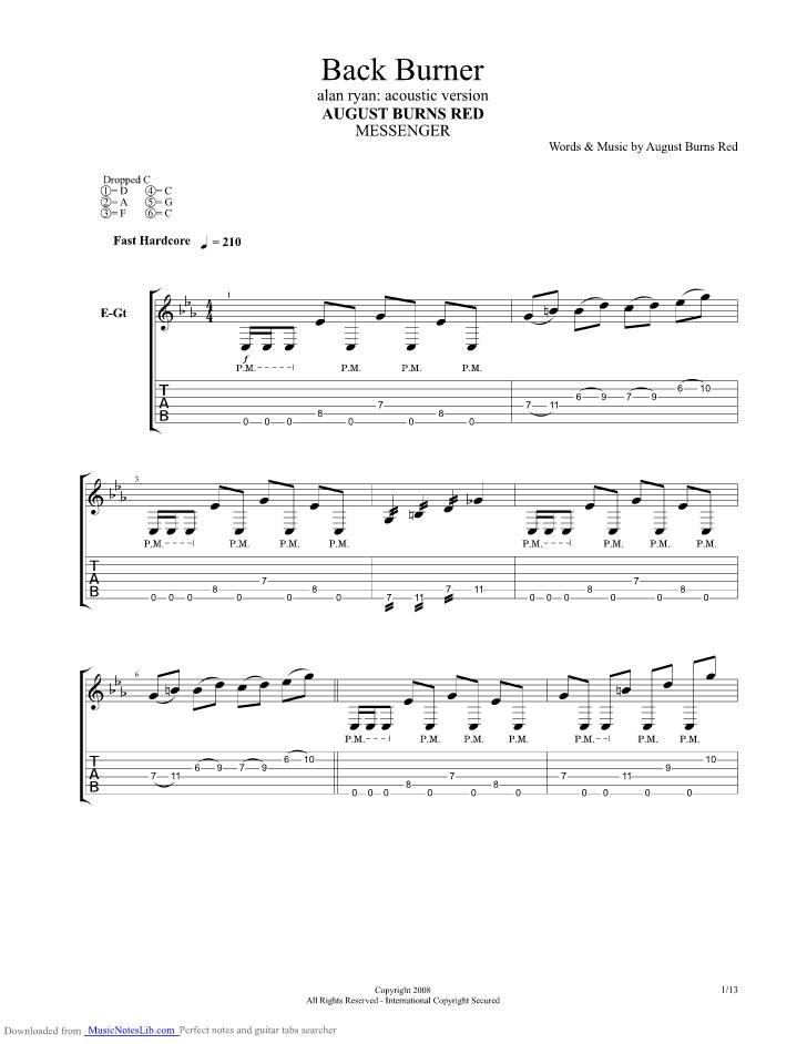 Back Burner guitar pro tab by August Burns Red @ musicnoteslib.com