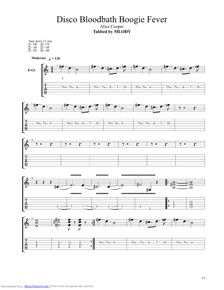 Disco Bloodbath Boogie Fever Guitar Pro Tab By Alice Cooper