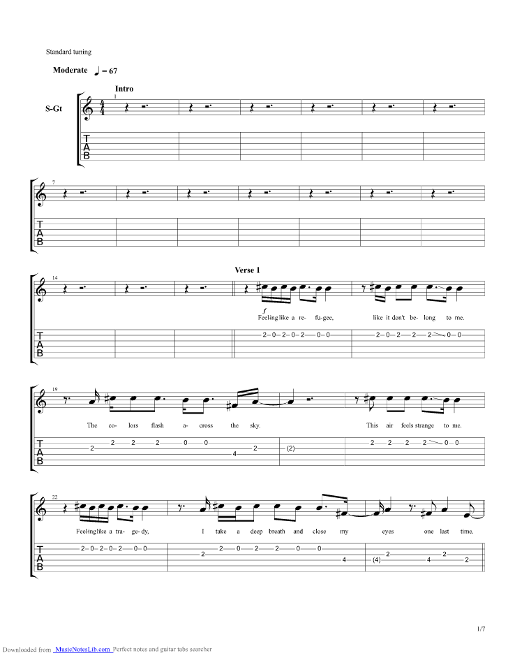 Where I Belong Guitar Pro Tab By Switchfoot Musicnoteslib