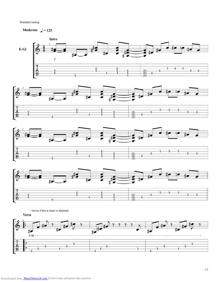 Lithium Flower guitar pro tab by Yoko Kanno @ musicnoteslib.com