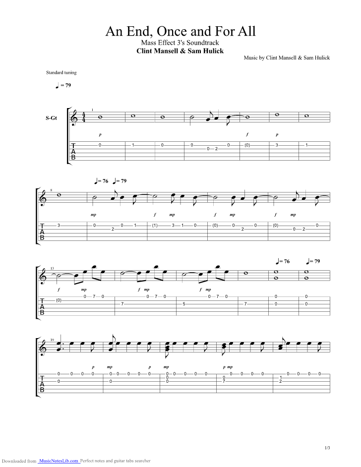 An End Once And For All Guitar Pro Tab By Clint Mansell